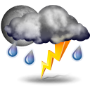 Weather forecast for today: thunderstorms